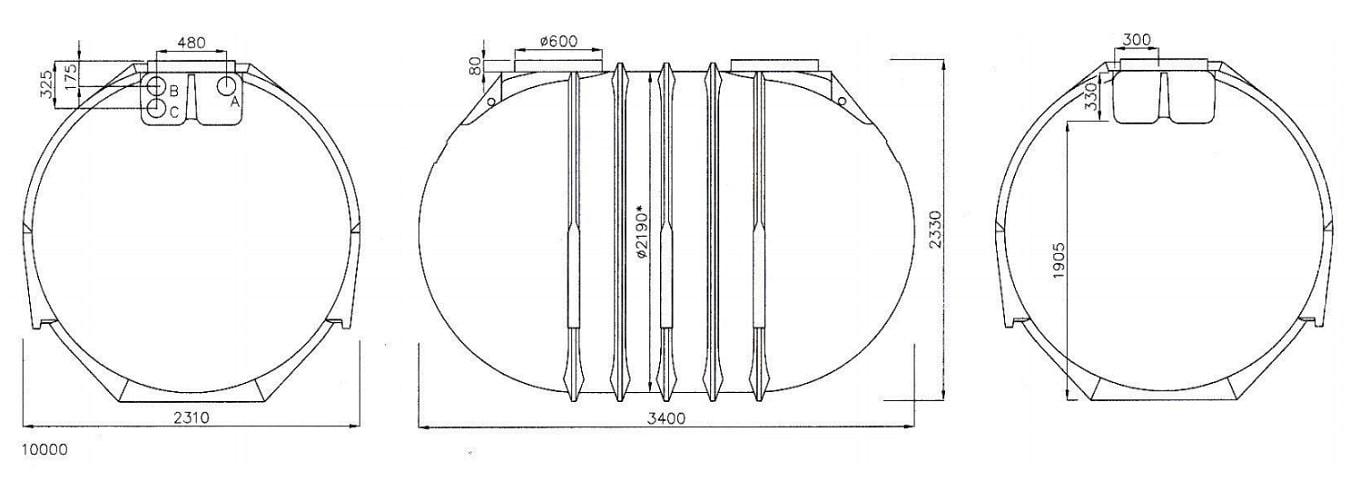 Rysunek techniczny zbiornika Blueline II 10000l firmy Rewatec