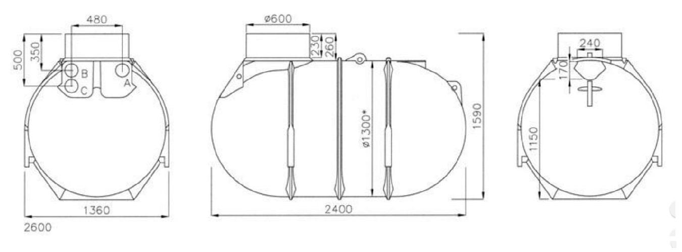 Rysunek techniczny zbiornika Blueline II 2600l firmy Rewatec