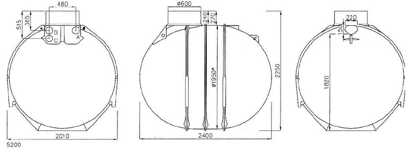 Rysunek techniczny zbiornika Blueline II 5200l firmy Rewatec