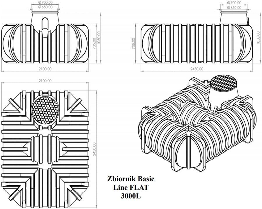 Rysunek techniczny zbiornika na deszczówkę Basic Line Flat 3000l